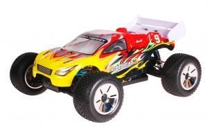 HSP 1zu10 Brushed Eamba RC Truggy Tribeshead 2 Red Flames