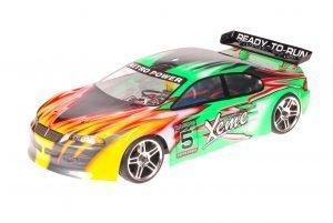 HSP 1zu10 Brushed RC Auto Xeme Green Flames