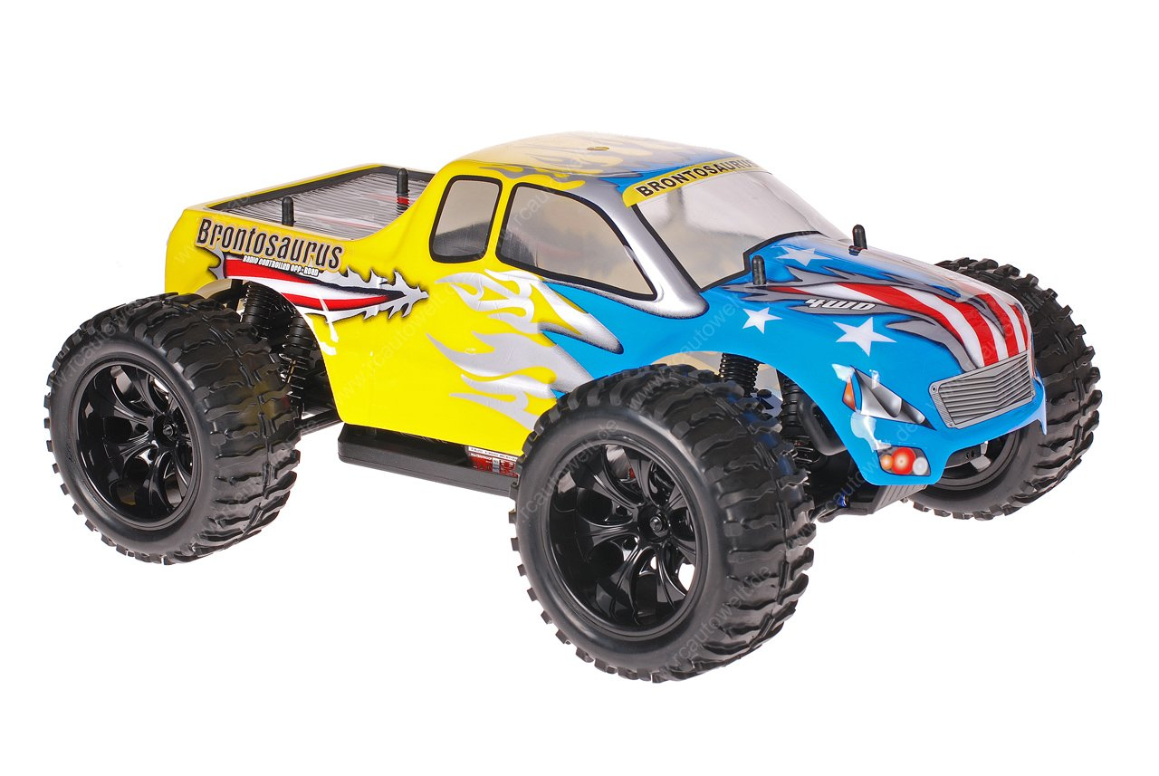 himoto 1 10 emxt 1 rc monster truck american flag yellow. Black Bedroom Furniture Sets. Home Design Ideas