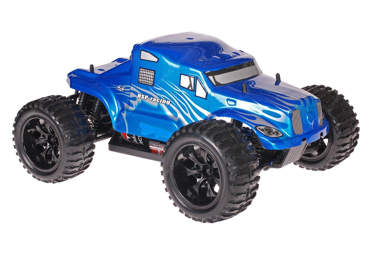 Himoto 1zu10 Brushed EMXT-1 RC Monster Truck American Truck Blue Metallic