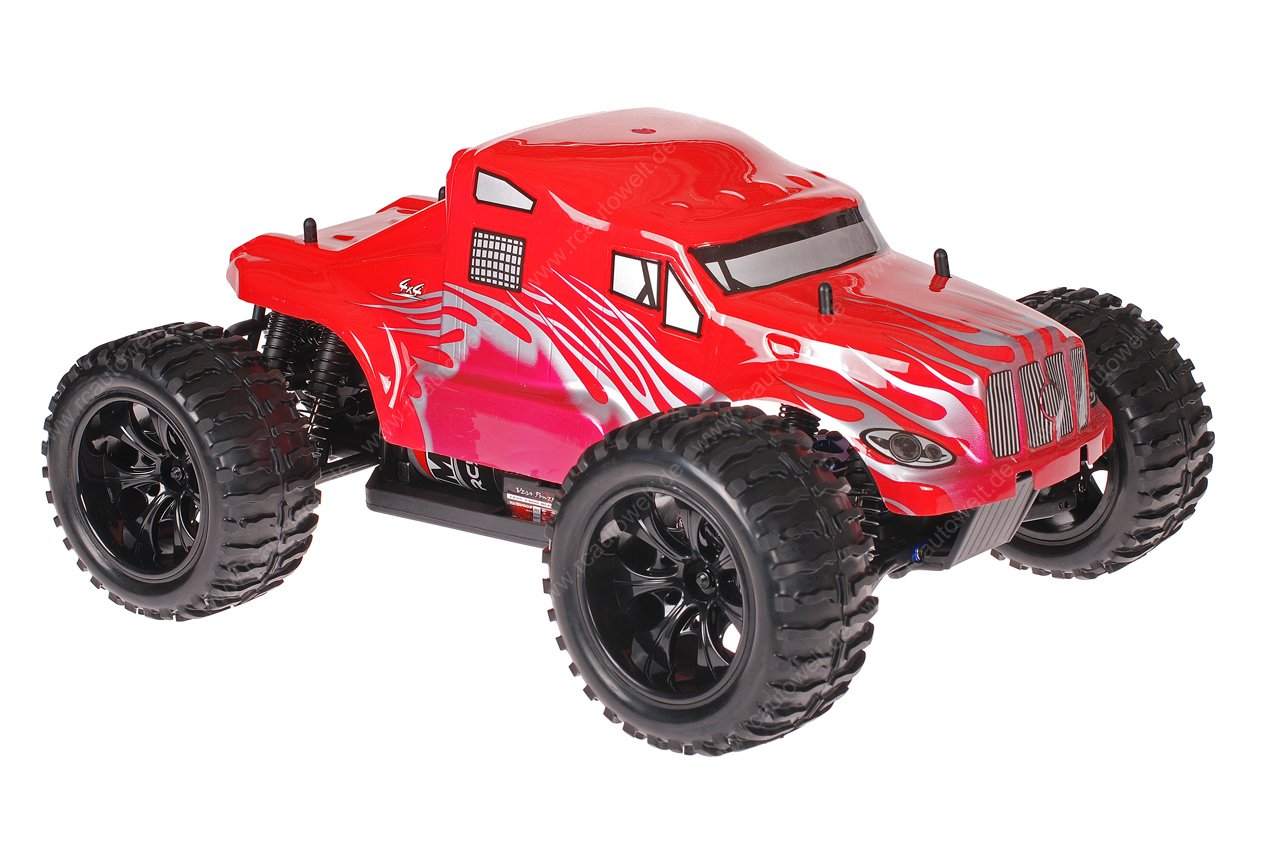 Himoto 1zu10 Brushed EMXT-1 RC Monster Truck American Truck Red Metallic