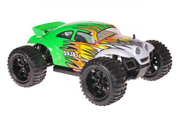 Himoto 1zu10 Brushed EMXT-1 RC Monster Truck Baja Beetle Green Flames