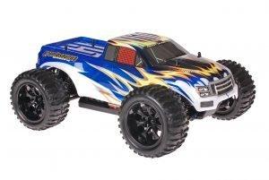 Himoto 1zu10 Brushed EMXT-1 RC Monster Truck Explosion Blue