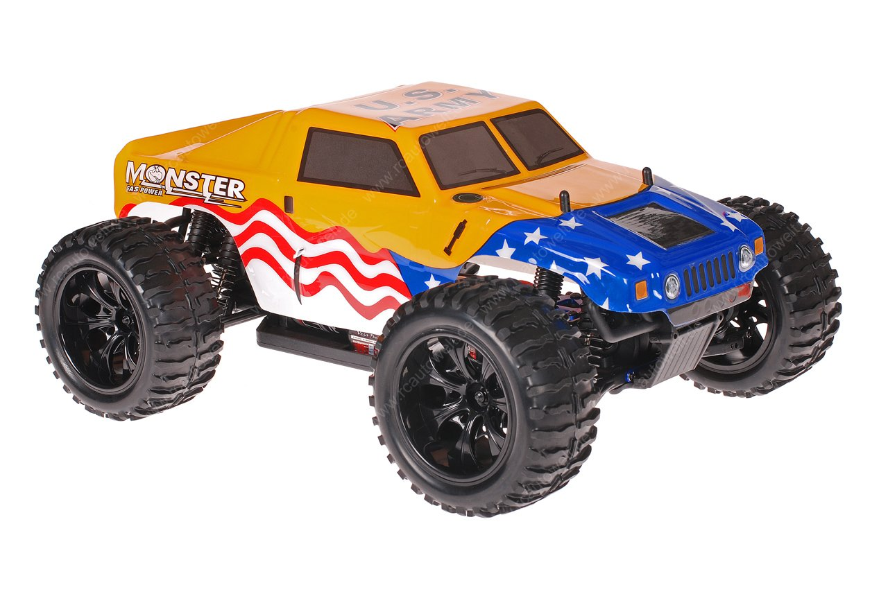himoto 1 10 emxt 1 rc monster truck hummer american flag. Black Bedroom Furniture Sets. Home Design Ideas