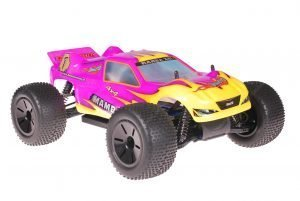 Himoto 1zu10 Brushed Eamba-XR1 RC Truggy Pink Flames