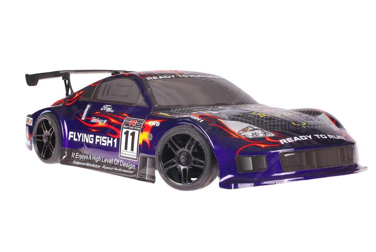 Himoto 1zu10 Brushed Nascada Onroad RC Auto Porsche 911 Carrera Purple Carbon 1